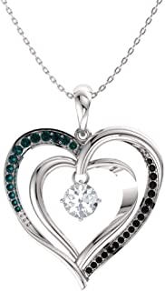 Natural and Certified White, Black and Blue Diamond Double Heart Necklace in White Gold | 0.33 Carat Pendant with Chain
