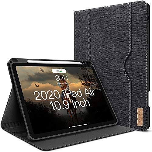 iPad Air 4. Generation Hülle 2020 Neues iPad Air 10.9 Zoll Hülle W Stift Halterung PU Leder Folio Stand Smart Cover mit Tasche Auto Sleep/Wake [Unterstützt drahtloses Laden] (Schwarz)