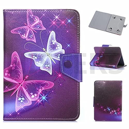 Funda universal para tablet de 10 pulgadas, con soporte universal para Tab de 10', diseño de mariposa, color morado, rosa y blanco