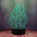 Luces 3D de anime, lámpara de mesa LED Manga Death Note, mando a distancia de 16 colores para anime, chico, habitación de bebé, decoración de tienda, lámpara de mesa, multicolor