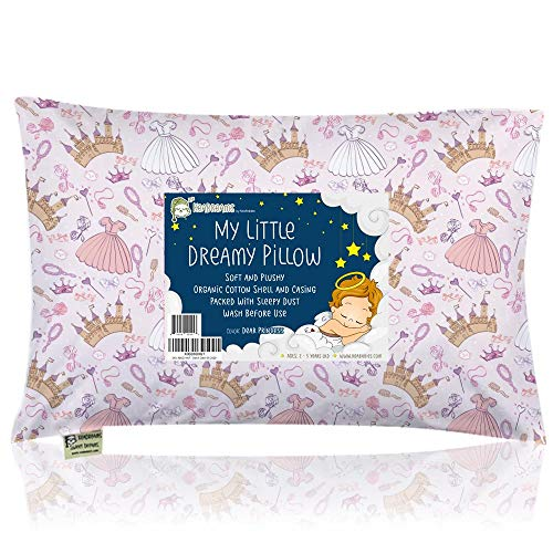 Toddler Pillow with Pillowcase - 13X18 Soft Organic Cotton Baby Pillows for Sleeping - Machine Washable - Toddlers, Kids, Boy, Girl - Perfect for Travel, Toddler Cot, Bed Set (Dear Princess)