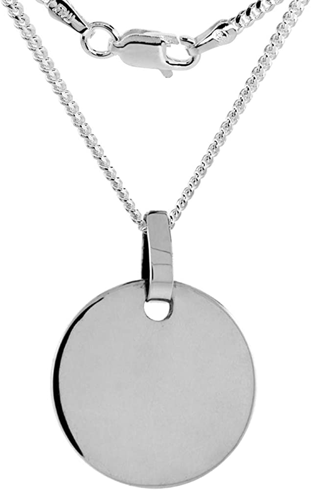 7 8 inch Sterling Silver Engraveable Necklace Disc Men Choice W and Selling rankings for