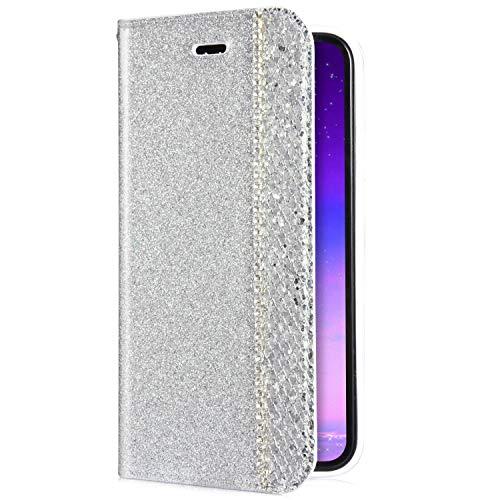 KunyFond 3D Etui PU Cuir Housse à Rabat Portefeuille Paillettes Diamant Couture Glitter Bling Strass Coque Leather Wallet Fentes Carte Bumper Case Cover Holster Couverture Compatible iPhone 7/8-Argent