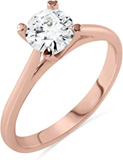 Art of Fine Charles and Colvard Forever Brilliant Near Colorless GH 6.5mm (1.0cttw) VS1 Four Prong Wishbone Solitaire Enga...