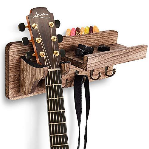 EWIGE Gitarrenhalter für die Wand, Gitarren Wandhalterung aus Holz für alle Gitarren, Bassgitarren, Violinen Kleines Regal mit Haken