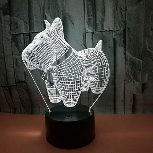 WangZJ 3D LED Nachtlichter Hund mit 7 Farben Licht für Heimtextilien Lampe Erstaunliche Visualisierung Weihnachtsgeschenke/Touch 7 Farben