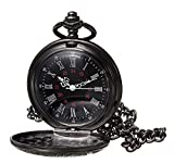 WIOR Black Classical Pocket Watch Retro Steampunk Pattern Quartz Numerals Pocket Watch with 14.5 in Chain for Gradution Xmas Birthday Fathers Day (A)