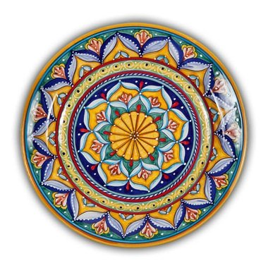 Hand Painted Italian Ceramic Geometrico Charger B - Handmade in Deruta
