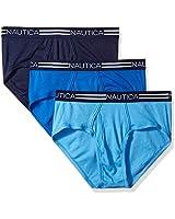 Nautica Men's Comfort Cotton Underwear Fly Front Brief-Multi Pack, Peacoat/aero/Cobalt, S