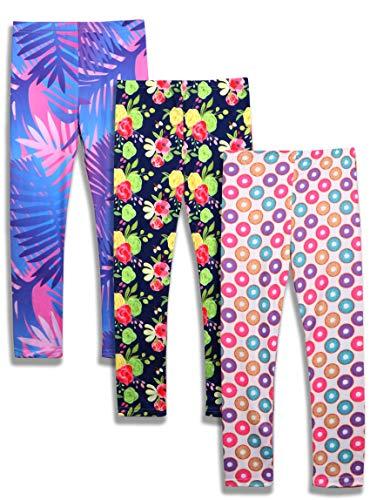 iLover - Leggings atléticos elásticos para niñas, longitud de tobillo, 3 unidades, tamaño 4-13T, Hojas de palma Donuts sin costura, 12-13 Años