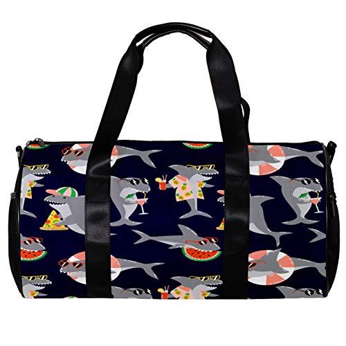 Bolsa de deporte redonda para gimnasio con correa de hombro desmontable patrón de verano con tiburones frescos en gafas de sol, bolsa de entrenamiento para mujeres y hombres