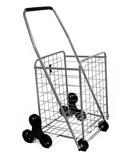 Helping Hand Deluxe Stair Climber Cart in Silver | Folding Cart Holds Up to 60 lbs - Great for...
