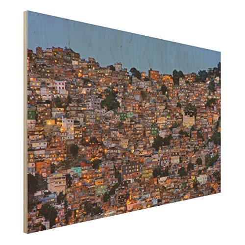 Bilderwelten Cuadro en Madera Ilustración Wall-Art - Rio De Janeiro Favela Sunset 50 x 75cm