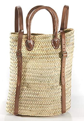Kobolo Rucksack aus Palmblatt mit Lederriemen und Griffe 30x40 cm
