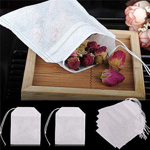 Brussels08 100 Stück Vlies-Teebeutel mit Kordelzug, sicher, stark, für Kaffee, Kräuter, losen Tee, 100 Stück