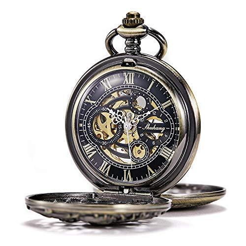 『TREEWETO 機械式 手巻き 懐中時計 両面蓋 龍透かし ローマ数字 ブロンズ スケルトン チェーン 付き』のトップ画像