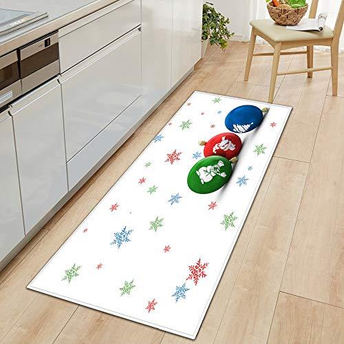 OPLJ Alfombrilla de Cocina Absorbente de Agua a Prueba de Aceite, Felpudo de Entrada para el Dormitorio del hogar, Alfombra de Navidad, Alfombra para el Pasillo del hogar, A15 50x160cm