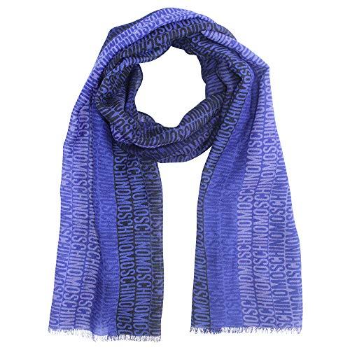 Moschino opschrift wollen sjaal, blauw en koningsblauw ca. 190 x 55 cm.