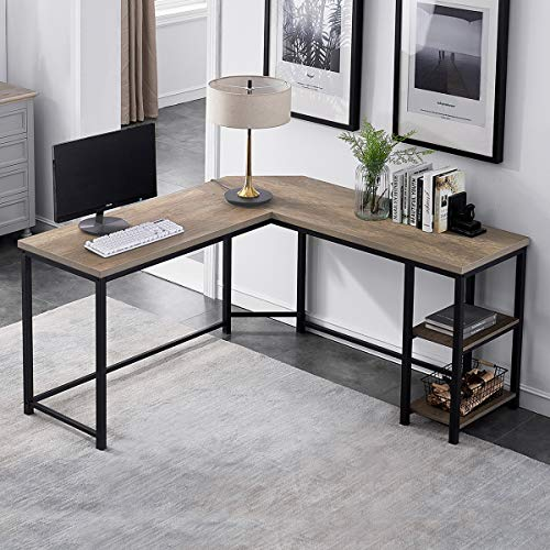 Furnichoi Computer Desk L-Shaped, Industrial Vintage Corner Sturdy L Desk with Shelf, for Home Office 59 inch