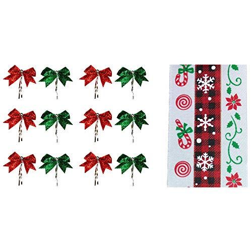 Just4You Assorted Christmas Ribbons and Mini Bows for Crafts and Decorations - Set of 3 Ribbon Rolls and 12 Mini Bows (Buffalo Plaid)