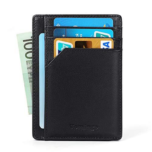 Vemingo Portafoglio Uomo Festa del Papà Vera Pelle Porta carte di credito/portafoglio uomo in pelle con serratura RFID per varie carte personali, minimalista (nero) (Nero-xb53)