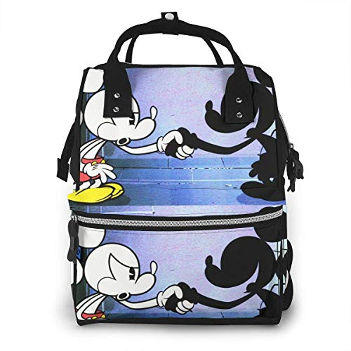 Diaper Bag Backpack - Black and White Mickey Mouse Multifunction Waterproof Travel Backpack Nappy Bags