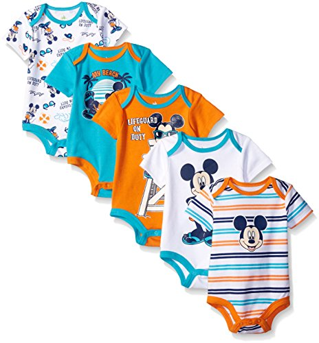 Disney Baby Boys' Mickey 5 Pack Bodysuits, Multi/Anthracite Black, 12M