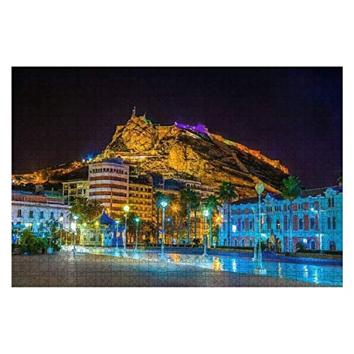 Alicante Spain January 2 2016 Night View of Illuminated pier in 1000 Piece Wooden Jigsaw Puzzle DIY Children Educational Puzzles Adult Decompression Gift Creative Games Toys Puzzles Home Decor