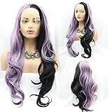 RainaHair 26 'medio púrpura medio negro Encaje frente Pelucas para las mujeres Lila/Negro 2Tone largo ondulado lado parte sintética peluca resistente al calor Fibra pelo