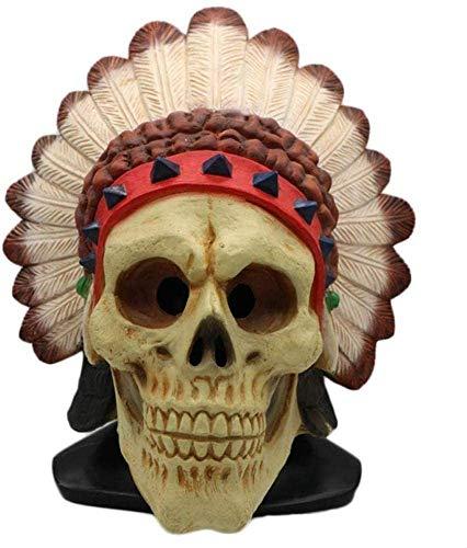 XDHN Indianen Afrikaanse Indiase veren Indiase masker Halloween Horror dood latex hoofddeksel Heikles Griezelige Cosplay Rekwisieten, beige