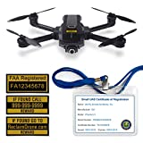 Yuneec Mantis Q - FAA Drone Labels (3 Sets of 3) + FAA UAS Registration ID Card for Commercial Pilots + Lanyard and ID Card Holder