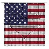 Duschvorhang mit amerikanischer Flagge, 4. Juli, Unabhängigkeitstag, USA, Sterne & Streifen, altes Holz, rustikaler Liebesherz-Hintergr&, Patriot, Badezimmer-Dekoration mit Haken, 183 x 183 cm
