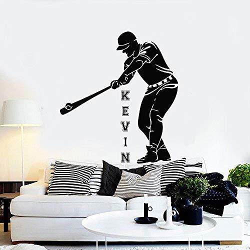 yaonuli Baseball Player Wandtattoo Personalisierte Name Maßgeschneiderte Jugendzimmer Abnehmbare Vinyl Wandaufkleber Raumdekoration Zubehör 166X148 cm