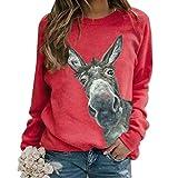 Puimentiua Sudadera Pullover Casual de Otoño Invierno para Mujer Suéter Sweatshirt de Cuello Redondo y Manga Larga(Rojo #1,2XL)