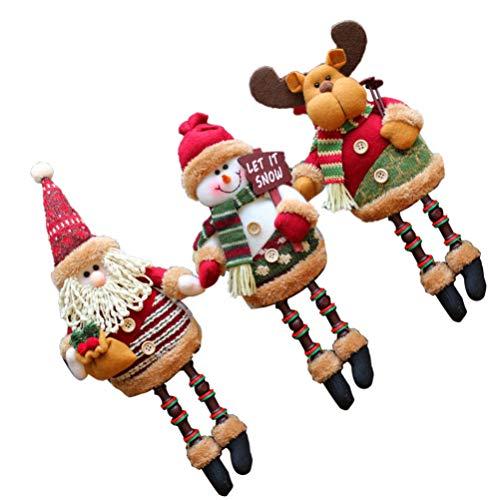 KESYOO Boneca de Pelúcia 3Pc Natal Rena Santa Boneco de Neve Figura Crianças Brinquedo de Pelúcia Festa de Natal Decoração de Mesa Mesa Lareira Prateleira Babá Estatueta Enfeite