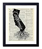 California Home Grown Upcycled Vintage Dictionary Art Print 8x10
