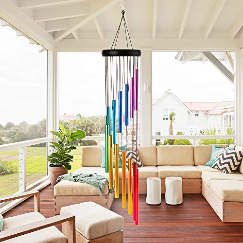 Amasava Wind Chimes for Outside 28.3' Metal Wind Chimes Outdoor with 14 Colorful Aluminum Alloy Tubes Deep Tone Wind Chimes with Soothing Sound for Patio Porch Backyard Decoration/Meditation/Yoga