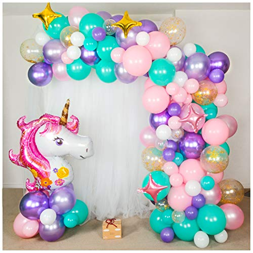 Shimmer and Confetti | 155pc Unicorn Balloon Arch Decoration Kit | Balloon Bouquet Kit | Balloon Garland Kit | Organic Balloon Decor