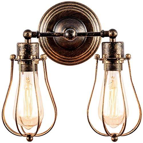 2-Ligjt E27 Lámpara de Pared Industrial Ajustable Hierro Forjado Vintage Metal Loft Wall Sconce para Restaurante Cafe Gazebo (sin Bulbo)