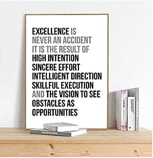 La excelencia nunca es un accidente Cita Arte de la pared Pintura de la lona Citas de motivación del trabajo Cartel e impresión Imagen de la pared Decoración de la oficina-40x60cm Sin marco