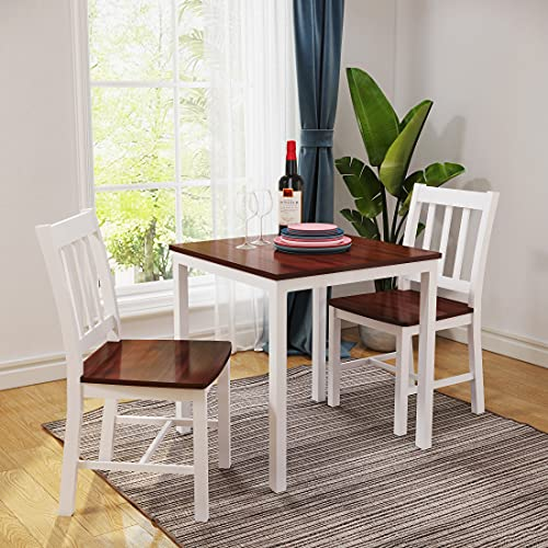 Panana Wooden Dining Table with 2 Chairs Contemporary Dining Set Kitchen Dining Room Set (I Shape Brown White)