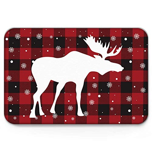 Area Rug Carpet Bath Mat Doormat White Antler and Snowflake Black and Red Buffalo Plaid Rugs 40X60CM