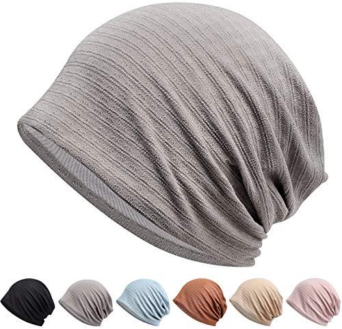 Knit Hat, Spring, Summer, Autumn, Hat, 100% Cotton, 2-Layer Construction, Excellent Texture: Thin Cotton Hat, Care Hat, Plain, Knit Watch, Beanie, Knit Cap, Excellent Stretchability, Breathable, Soft, Windproof, Solid Color, Unisex - beanie #02. grey