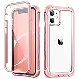 Dexnor Funda Compatible con iPhone 12 Pro MAX 6.7'', 360 Grados, Cuerpo Completo, Cubierta Protectora Delantera Trasera a Prueba de Golpes con Protector de Pantalla Incorporado - Rosa bebé
