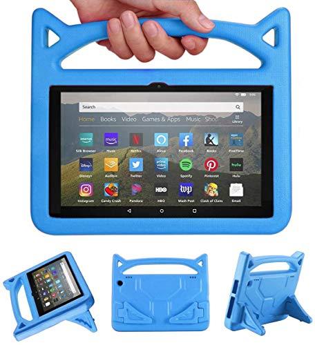 Newモデル Amazon Kindle Fire HD 8/Fire HD 8 Plus タブレット ケース カバー 第10世代 2020年発売 RIAOUR Amazon純正 保護カバー 軽量 EVA製 保護フィルム 耐衝撃 スタンド付き 可愛いデザイン。 (青)