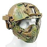 XUE Airsoft Casque Tactique Integral avec Amovible Masque de Protection et Goggle (Multicam Camouflage)