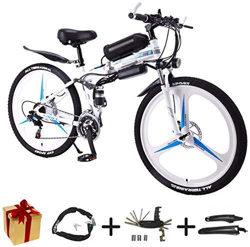 BIKE Electric Bicycle, Folding E Bike - 26 inch Wheel Electric Bike Aluminum Alloy 36V Mountain Cycling Bicycle, Shimano 21-Speed for Adults White-90Km,White,90Km
