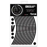 VFLUO Circular™, Kit Bandes Jantes Moto rétro réfléchissantes (1 Roue), 3M Technology™, Liseret Largeur Normale : 7 mm, Noir