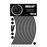 VFLUO Circular™, Motorrad Retro reflektierende Felgenrandaufkleber Kit (1 Felge), 3M Technology™, 7mm breit, Schwarz