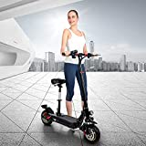 Autoshoppingcenter Electric Scooter for Adult, Scooter with Detachable Seat 500W Motors Max Speed 45km/h Foldable E-Scooter with LCD Display 48V 10.4Ah Removable Li-Ion Battery, 3 Speed Modes